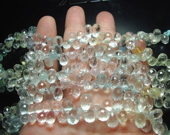 Mix Aquamarine Faceted Drop Beads Half Strand