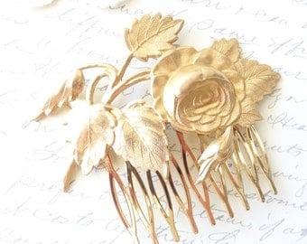 Golden Cabbage Rose Hair Comb - Rose Leaf Gold Hair Comb - Rose Blossom - Wedding Hair - Bridal Hair