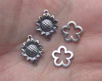 Sterling Silver Flower Links(one pair)