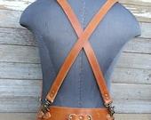 Steampunk Tan Brown Leather Suspender Harness w Antique Brass Hardware