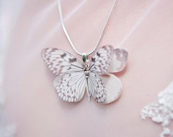 Silk butterfly necklace, hand cut with Swarovski crystals. Wedding. Bride. Delicate. Cream.