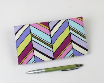 Checkbook Cover for Duplicate Checks with Pen Holder in Botanika Cotton Fabric by Paula Prass, Aqua, Periwinkel, LIme, Chevron Style Stripes