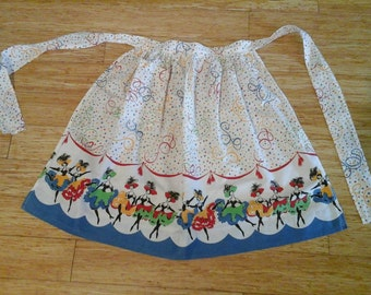 Sale Unusual Vintage Brightly colored Can Can Dancing Girl Half Apron