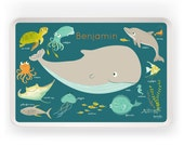 TRAY - Personalized OCEAN melamine tray for kids