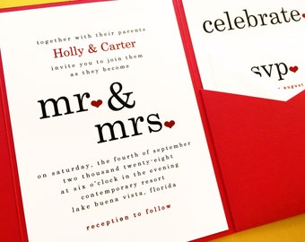 Mr and Mrs Wedding Invitations Pocketfold Invitations Pocket Fold Invitation Wedding Invite