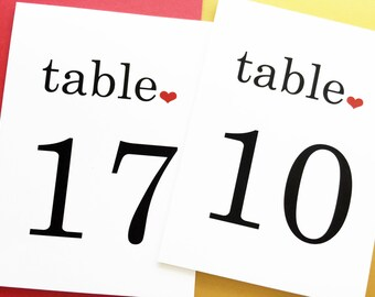 Table Number Cards - Wedding Table Numbers