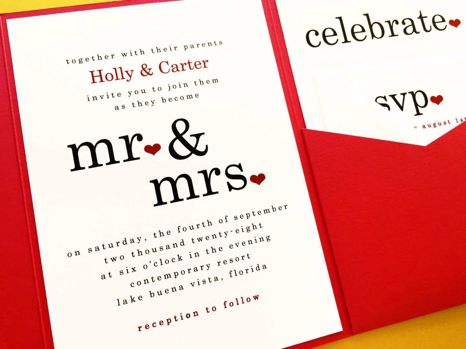 Mr And Mrs Wedding Invitations Pocketfold Invitations Pocket