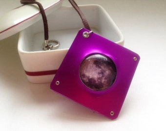 Anodized Aluminum and Glass Moon Pendant