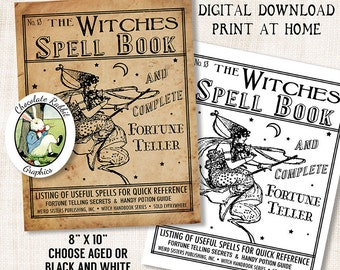 Witch Halloween Spell Book Cover Digital Download Vintage Style Printable Image DIY Clip Art Scrapbook Collage Sheet Graphic Print