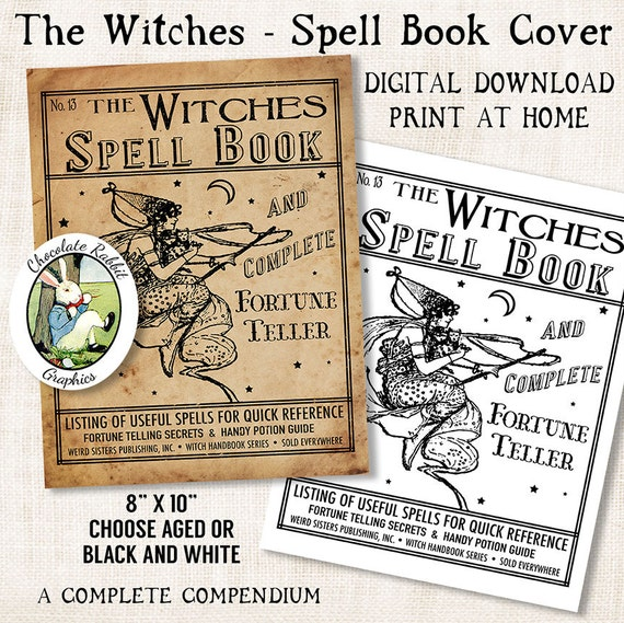 Witch Halloween Spell Book Cover Digital Download Vintage