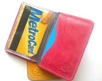 Credit Card Wallet, Credit Card Holder, Metro Card Case, Gift For Him, Gift For Her - in HOT PINK (No.1414)