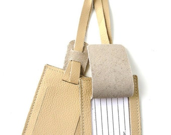 CLEARANCE SALE 50% OFF Leather Luggage Tag - You Get 2 - in Cream