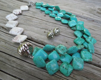 Asymmetric Turquoise and White Turquoise Magnesite and Large Silver Accent Bead