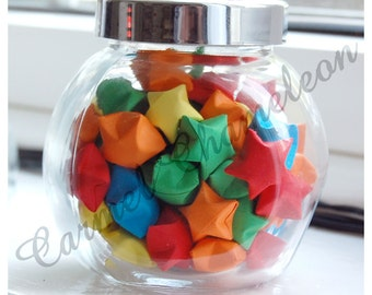 Rainbow Paper Stars/Wishing Stars Jar ~Origami ~Good Luck ~Wedding/Party Favors ~Teacher/Leaving Gift