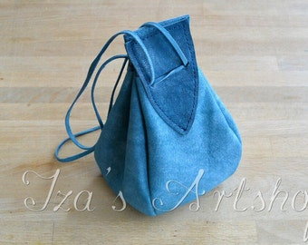 Vivid Blue Medieval Leather Pouch