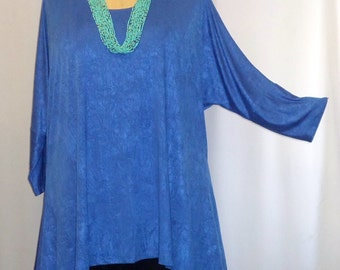 Womens Plus Size Top Coco and Juan Lagenlook Plus Size Electric Blue Poly Knit Drape Sides Tunic Top One Size Bust  to 60 inches
