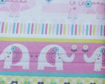 Pink Elephant Fabric, Cotton quilt fabric, by the yard or half yard, nursery quilting fabric,