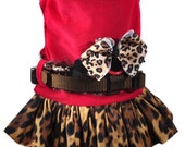 Dog Harness Outfit with hat Sizes XXS to Large in Red