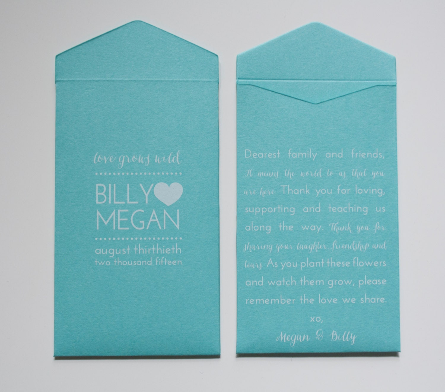 Turquoise Custom Seed Packet Boho Wedding Favor Envelopes