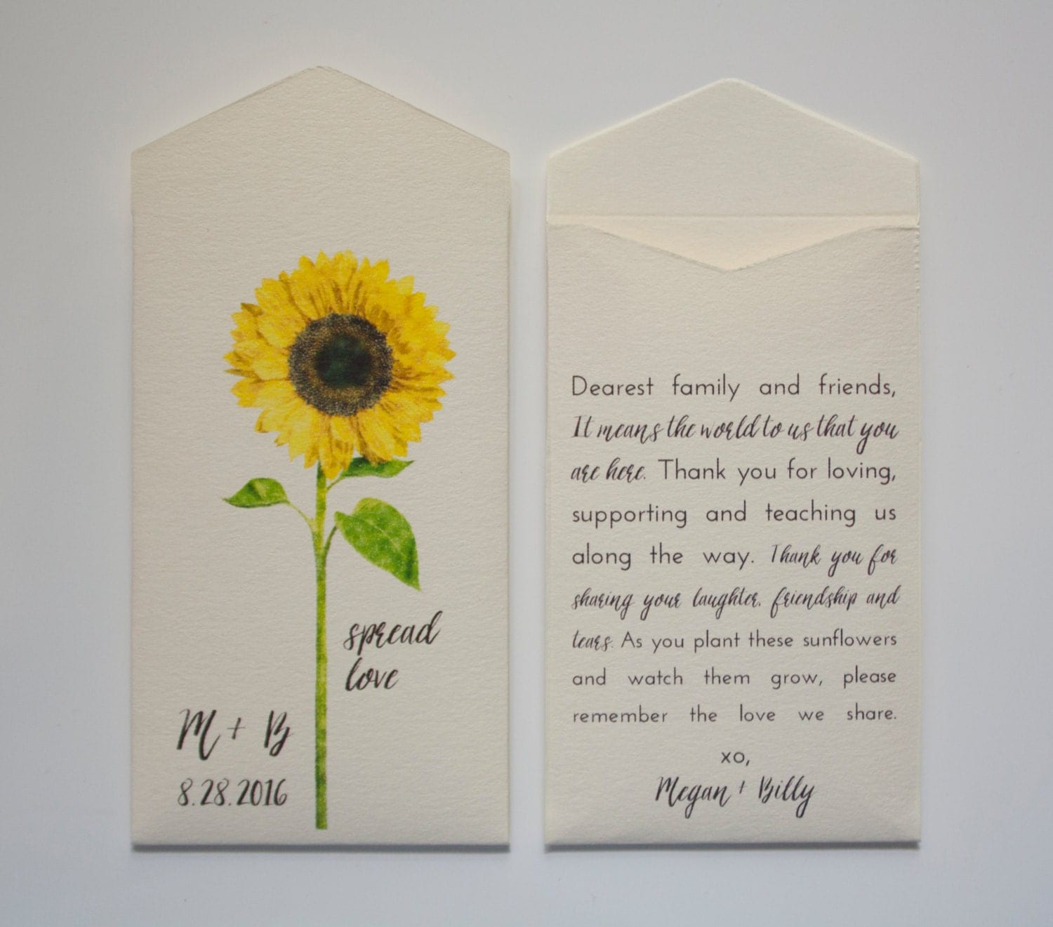 Sunflower Seed Packet Wedding Favor Envelopes Many By Megmichelle