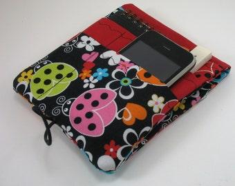 Medical Pocket Organizer - Nurse Scrubs Pocket Case - Two Sizes to choose from - Bright Ladybugs on Black - Cargo Pocket insert