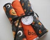 "Baby Burp Cloth Set of 3 ""Jolly Pumpkin"" Gender Neutral Boy Girl Halloween October"