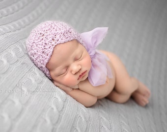 Photo Prop Bonnet Newborn Baby Mohair Hat Chiffon Lace Hand Knit Organic Lilac Lavender Going Home Outfit Coming Home Cap Infant Photography