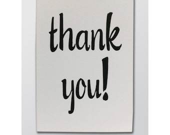 Thank You! - letterpress printed folded greeting card - Blank Inside