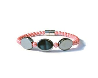 Red/Black Magnetic Hematite Therapy Bracelet, Holistic Health, Pain Relief