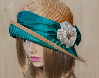 Fiona, beautiful two tone straw hat from the Downton Abbey era, silk dupioni sash