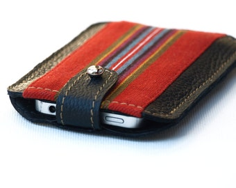 Tribal iPhone 4 Case, Leather Gadget Case, iPhone 4s sleeve, black leather iphone 5 case, gift for men, unisex gift idea