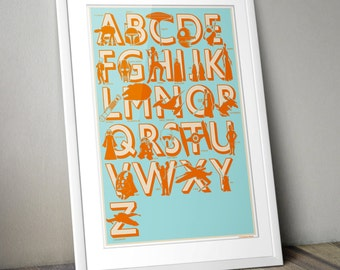 Star Wars, Retro, Print, Offset, Alphabet, Nursery Print, Star Wars Print