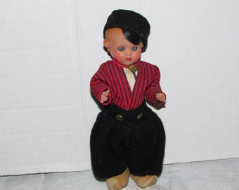 Vintage Hard Plastic DUTCH Boy DOLL Ethnic Travel Foreign Made in Holland