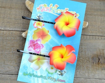 Red Plumeria Bobby  Pins, 1 inch Flowers,   Floral Hair Pins