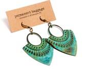 Patina Earring Egyptian Motif with Turquoise Verdigris Patina