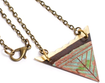 Triangle Patina Necklace - Patina Necklace - Verdigris Necklace - Patina Jewelry - Triangle Necklace - Short Necklace - Feather Necklace