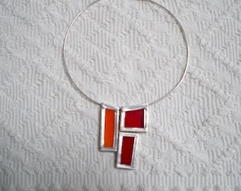 Vintage Jewelry Necklace Choker Modern Design Hand Made Geometric