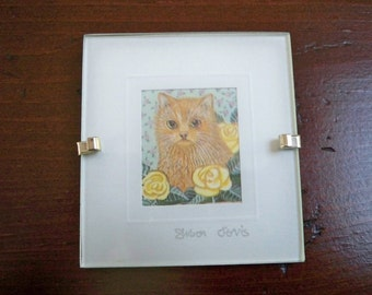 Vintage Home Decor Wall Hanging Miniature Water Color Print Kitty Cat #1 England Sharon Jervis
