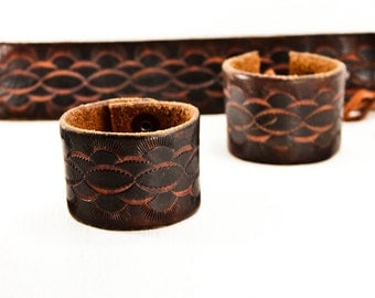 Summer Eco Friendly Jewelry Bracelets - Vintage Leather Cuffs Wristbands -  Etsy Love Tooled Leather