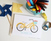 Oh Happy Day, Bicylce, Yellow Bike, Flowers, Illustration, Girsl Room, Nursery Art, Art Print