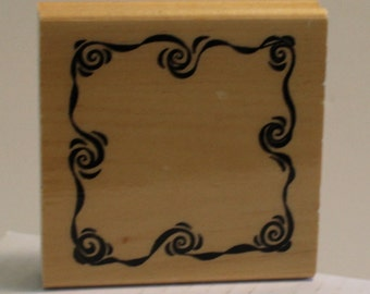 Swirly Wave Frame Rubber Stamp