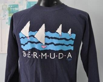 Vintage Bermuda Sweatshirt 80s waves wind surfing vacation warm comfy Faded Navy Blue Short Medium