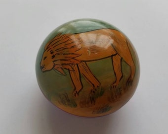 Small Wooden Container Handpainted Lion Tiger Vintage Antique Rustic Cottage Chic Science Nature Outsider Folk Art