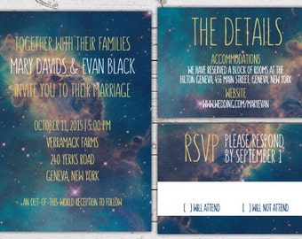 Printable Wedding Invitation Set - Invite, RSVP Card, Info Card - Galaxy