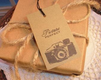 Vintage Camera Tags Kraft Wedding Favor Tags Set of 8