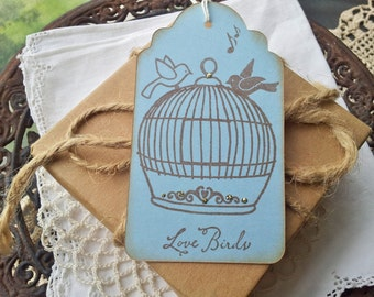 Wedding Tags Birdcage Love Birds Wish Tags Bridal Shower Favor Tags Set of 6