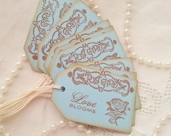 Wedding Post Card Tags Love Blooms Vintage Inspired Set of 8