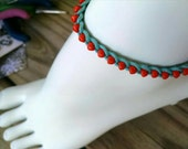 Anklet Turquoise and Orange Size Choice