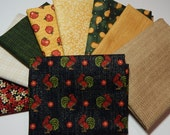 NEW  Folk Art Rooster Fabric Bundle - 9 Fat Quarters for Quilt Craft Bundle A