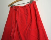 SALE / Red Wrap Skirt - Cotton Vintage